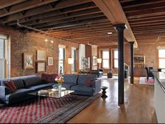 Orlando Bloom's New Loft Apartment Is The Ultimate Bachelor Pad Amazing Apartments, Home, Apartment Interior, Nyc Loft, Brick Loft, Industrial Interiors, Bachelor Pad, Interior Design, Great Rooms
