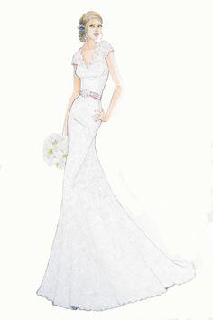 Custom Wedding Dress Sketch   Wedding gift by ForeverYourDress