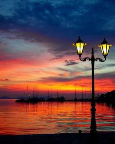 Lantern overlooking the Sunset at Syvota of Thesprotia, Greece Amazing Sunsets, Beautiful Sunset, Beautiful Places, Wonderful Places, Sestri Levante, All Nature, Scenic Photography, Beautiful Landscapes, Land Scape
