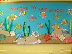 Summer Back To School Preschool Bulletin Board Idea, plain paper t-shirts on…