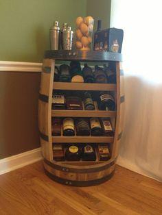 Old whiskey barrel turned liquor/ wine cabinet