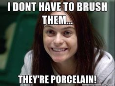 Even when they're porcelain they still need brushing! #vaneers #teeth #brushdaily #dentist