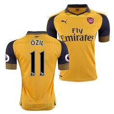 Neue Fussball Trikots Arsenal Gelb Schwarz (OZIL 11) Auswärts Saison 2016 2017 Billig