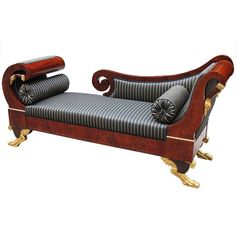 Magnificent Portuguese Empire Recamiere/Daybed | From a unique collection of antique and modern sofas at http://www.1stdibs.com/furniture/seating/sofas/