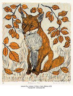 Vanessa Lubach ~ Autumn Fox ~ Linocut, 13.5 x 16 cm