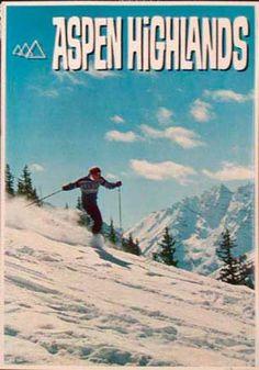 1960's Aspen Highlands vintage ski poster