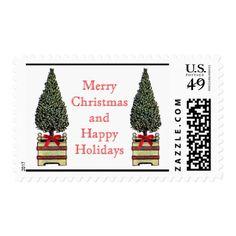 Christmas Tree Merry Christmas Happy Holiday White Postage - christmas stamps custom merry xmas postage diy customize