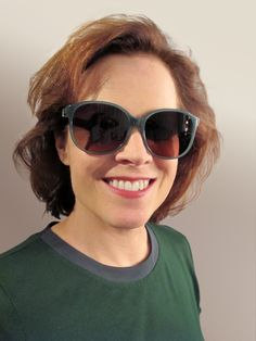 Actress Sigourney Weaver. Salvatore Ferragamo sun style SF647S.  That's one way to hide crow's feet, but what an unflattering style for her.