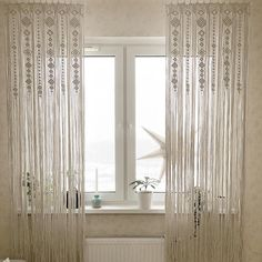 Macrame Curtains of 2 panels are available in these colors: Ivory (in my photos), Gray and White. The dimensions for each panel is approximately 25x78 (64x200сm) from the top of header loops. If you need other sizes or colors, please, contact me! I will be glad to make a curtain for