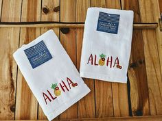Aloha Hand Towels Set Of 2 Embroidered Guests Tropical Bathroom