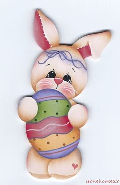 HP BUNNY with Easter Egg FRIDGE MAGNET #Handpainted