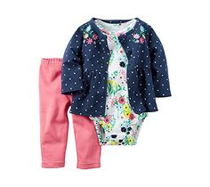 CARTER'S Baby Girls' 3-Piece Floral Cardigan Set - Size 3 MONTHS (3M) -  Style #121H254 - carters infant toddler flowers floral polka dots henley long sleeve onesie bodysuit body suit pants bottoms sweater plastic waistband waist band navy blue pink yellow white green snap closure. AVAILABLE WHILE SUPPLIES LAST!   https://www.amazon.com/dp/B01NBRJBJ2/ref=cm_sw_r_pi_dp_x_7.ZNzb26ET6TN