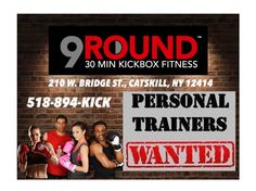 Upbeat, energetic, fun, fit person needed!! 9Round is currently hiring for a part-time trainer/sales position. KICKBOXING EXPERIENCE IS NOT NECESSARY. You must have a great personality, enjoy working with people, consider fitness important, be confident in your abilities to present and sell, and be very punctual. So if you are open to new ideas and have plenty of energy, give us a call and let's get started!