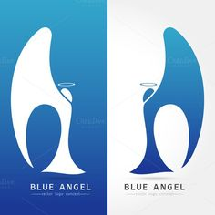 Blue angel - vector logo concept. Human Icons. $6.00