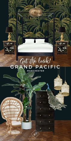 Get the Look: A Visit to the Eclectic Glam Grand Pacific, Manchester - Swoon Worthy - Grand Pacific Get The Look - Colonial Tropical Southeast Asian design moodboard Interior Tropical, Tropical Home Decor, Asian Home Decor, Tropical Houses, Tropical Furniture, Tropical Colors, Tropical Design, Asian Bedroom Decor, Asian Inspired Decor