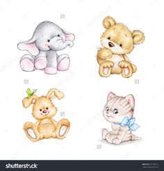 stock-photo-set-of-animals-elephant-bunny-bear-cat-331788113.jpg (1500×1569)