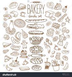 Set of various doodles, hand drawn rough simple bread and pastry sketches. Isolated on background