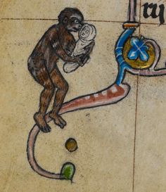 "Monkey carrying a baby. British Library, Stowe 17 (""Maastricht Hours'). 14th c."