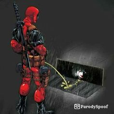 Deadpool hydrates Pennywise with his golden rain | #parody #art #humor #memes http://ibeebz.com