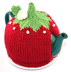 Tea Cozy Red Knit   Tea Cozy OOAK  46 cup Tea by SimplyWestCoast, $30.00