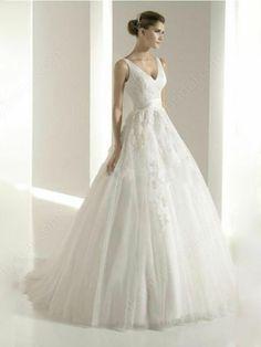 Princess V-neck Tulle Satin Sweep Train Appliques Wedding Dresses