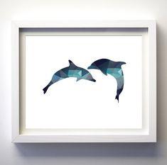 Dolphnis digital print instant download nautical nursery printable DIY wall art geometric wall art polygon print modern art living room