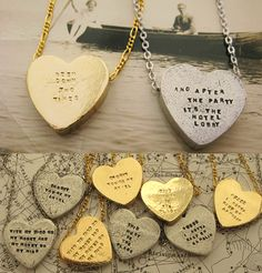 cute idea / stamped with a song lyric or phrase. i want!