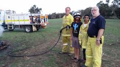 Local volunteer firemen on set