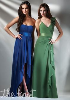 Left: A-line features sweep train, hi-low hem, and sweetheart neckline. Right: Sheath features spaghetti straps and V-neck.