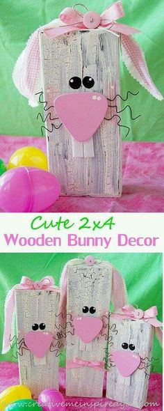 50 DIY Easter Crafts for AdultsWe just published our Easter Craft Ideas for Kids… - Crafts 2019 Spring Crafts, Holiday Crafts, Holiday Fun, Festive, 2x4 Crafts, Wooden Crafts, Bunny Crafts, Wood Block Crafts, Easter Crafts For Adults