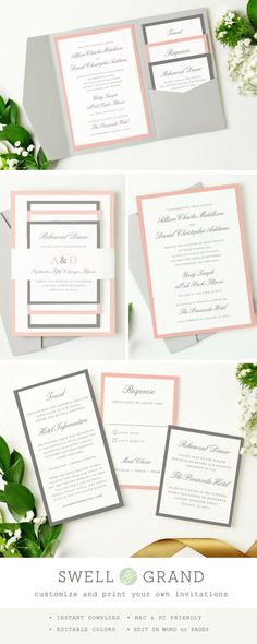 TÉLÉCHARGEMENT IMMÉDIAT | Invitation de mariage de poche imprimable | Gris et rose | Modifier dans Word ou Pages | Couleurs modifiables oeuvre | Mac & PC par SwellAndGrand sur Etsy https://www.etsy.com/fr/listing/229921666/telechargement-immediat-o-invitation-de