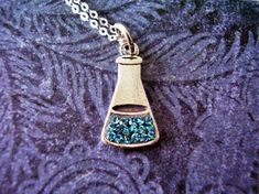 Blue Crystal Lab Beaker Necklace