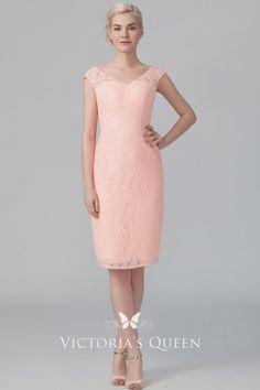 339e1d63b5a6 Peach pink lace short sheath bridesmaid dress. Illusion cap sleeve   V  neckline