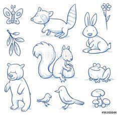 Vektor: Cute cartoon forest animals. Bear, squirrel, rabbit, frog, raccoon, birds. Hand drawn doodle vector illustration.