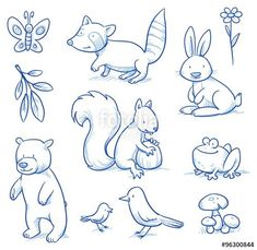 Vektor: Cute cartoon forest animals. Bear, squirrel, rabbit, frog, raccoon, birds. Hand drawn doodle vector illustration.