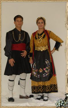 Traditional festive costumes from Epirus (NW Greece).  Late-Ottoman era, end of 19th century.
