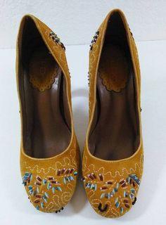 Aldo Gold Suede Beaded Pumps Ladies Heels Shoes Size 6 1/2 U.S Size 37 Europe #ALDO #PumpsClassics #dressy