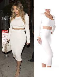 Kim Kardashian White Crop Top and Tube Skirt