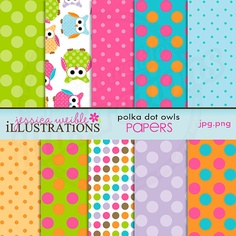 Polka Dot Owls Cute Digital Papers for Card Design, Scrapbooking, and Web Design