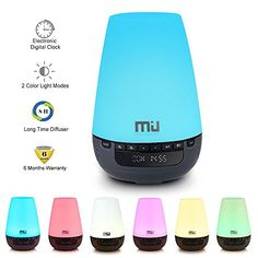 Digital Clock Essential Oil Diffuser MIUCOLOR Long Time 16h Aroma Ultrasonic Cool Mist Humidifier  Electronic Digital Clock Diffuser 2 Modes of Warm White and Changing Colored LED Lights *** Want to know more, click on the image.