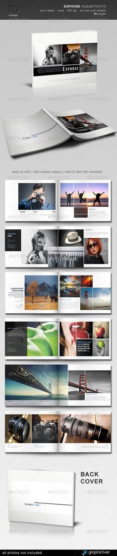 Contemporary looking layouts, some images bleeding off page, not too symmetrical, sparing use of white grid lines over images, and with plenty of space for text.
