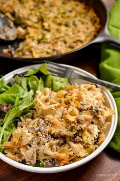 Dig into this heavenly Syn Free Baked Garlic Mushroom and Ricotta Pasta dish - a perfect speed filled recipe. I'm on a bit of a ricotta addition at present. There is just something super indulgent Slimming World Vegetarian Recipes, Slimming World Pasta, Slimming Eats, Slimming Recipes, Veggie Recipes, Pasta Recipes, Diet Recipes, Cooking Recipes, Healthy Recipes