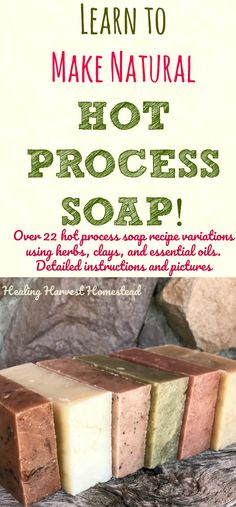 Have you ever wanted to learn to make your own handmade soap with confidence? Find out how to make hot process soap. This detailed picture tutorial also includes information about using herbs, clays, essential oils, and other natural ingredients in your hot process soap. The hot process recipe is no-fail and works every time! Have fun and make natural handmade soap!