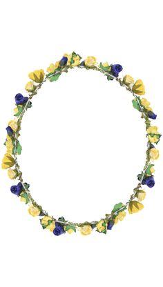 Tocados de diseno en 24fab.com - Tiara Juno de flores amarillas y azules