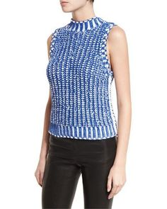 ALICE AND OLIVIA TOMI TWO-TONE CHUNKY KNIT TOP. #aliceandolivia #cloth #
