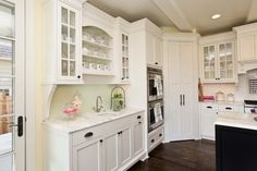 I like the light cabinets, the open shelves, and the glass front doors.... Kitchen With Corner Pantry Design, Pictures, Remodel, Decor and Ideas