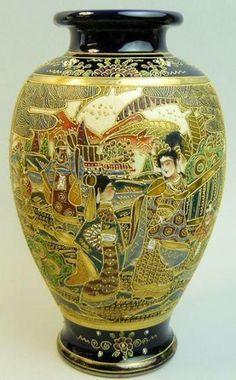 ANTIQUE-JAPANESE-MEIJI-PERIOD-SATSUMA-POTTERY-VASE-C-1900 Japanese China, Japanese Art, Japanese Porcelain, Japanese Pottery, Antique Pottery, Pottery Vase, Ceramic Vase, China Porcelain, Satsuma Vase