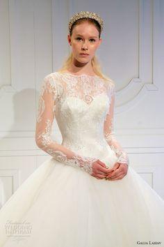 galia lahav spring 2017 bridal lace long sleeves illusion bateau sweetheart neckline lace bodice tulle princess ball gown a  line wedding dress v back (015) zv