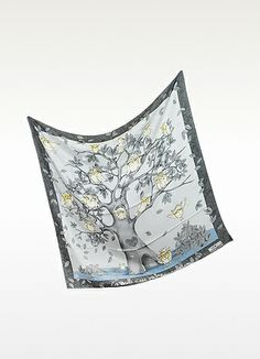 Cheap and Chic Owl Print Silk Square Scarf - Moschino