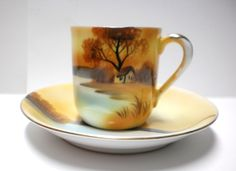 Noritake Demitasse Cup Saucer China Handpainted Tree in Meadow House by Lake